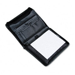 Bond Street 712009BLK: Pad Holder, Leather-Look, Zipper, File Pockets, Writing Pad, Black