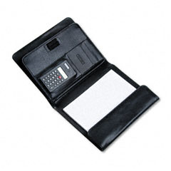 Bond Street 712212BLK: Pad Holder with Calculator, Leather-Look, Gusset Organizer, Writing Pad, Black