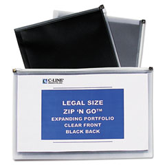 C-Line 48101: Legal Size Zip N Go Expanding Portfolio, 15 x 10, Clear / Black