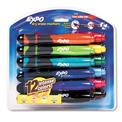 EXPO 83788: Dry Erase Markers with Eraser Grip, Chisel Tip, 12 / Set