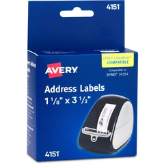 Avery 4151: Multipurpose Label Permanent Adhesive 3.50 Width x 1.13 Length 120 / Roll Rectangle Thermal Transfer Clear 120 / Box