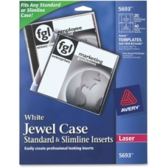 Avery 5693: Jewel Case Insert 40 / Pack White