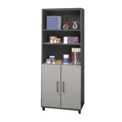 Coleman DuraStor 40394: Dura Store Bookcase 29.5 x 15.8 x 76.3 Drawer s 2 Door s Finish Graystone, Laminate, Metallic Silver