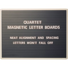 Quartet 901M: Quartet Magnetic Letter Board Sign, 24 x 18, Horizontal Ridges, Easy Mounting 18 Height x 24 Width Black Surface Gray Frame 1 / Each