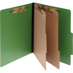 ACCO 15665: ACCO ColorLife PRESSTEX 6-Part Classification Folders, Letter, Dark Green, Box of 10 3 Folder Capacity Letter 8 1/2 x 11 Sheet Size 6 Fastener s 6 Divider s Presstex..