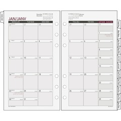 Day Runner 063685Y: Tabbed Monthly Calendar Refill Julian Monthly 1 Year January 2018 till December 2018 1 Month Double Page Layout 3 3/4 x 6 3/4 6-ring White Tabbed