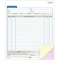 Adams Business Forms TC8131: 3-Part Carbonless Purchase Order Book Tape Bound 3 Part Carbonless Copy 10.60 x 8.37 Form Size 1 Each