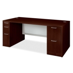 HON 11899GNN: Attune 11899G Double Pedestal Desk with Modesty Panel 72 x 36 x 29.5 5 x File Drawer s, Pencil Drawer s, Media Organizer Drawer s Double Pedestal Cove Edge Material Particleboard,..