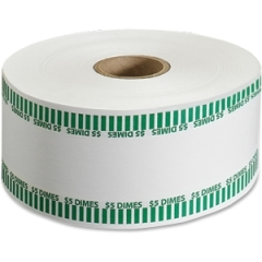 MMF Industries 2160651C02: 5Dollar / Dimes Automatic Wrapper Rolls 1000 ft Length 1900 Wrap s Heavy Duty 50 lb Paper Weight Kraft Green, White