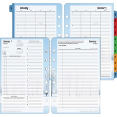 Franklin Covey 37622: Seasons Planner Refill Daily 1 Year January 2017 till December 2017 8 00 AM to 8 00 PM 1 Day Double Page Layout 5.50 x 8.50 White, Light Blue, Black Tabbed, Task List, Reference C..