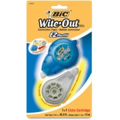 BIC WOTRP11R: Wite-Out Correction Tape Refill 0.20 Width x 45 ft Length Refillable, Tear Resistant 1 / Pack White