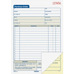 Adams Business Forms DC5831: Carbonless Purchase Order Statement Tape Bound 2 Part Carbonless Copy 5 9/16 x 8 7/16 Sheet Size 2 x Holes Assorted Sheet s 1 / Each