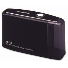 Panasonic KP4ABK: Battery Operated Pencil Sharpener Desktop 1 Hole s 3.3 Height x 5.4 Width x 1.8 Depth Black