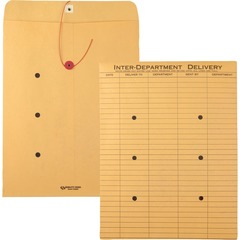 Quality Park 63563: Standard Style Inter-Dept. Envelopes Interoffice 10 Width x 13 Length 28 lb String / Button Kraft 100 / Box Kraft