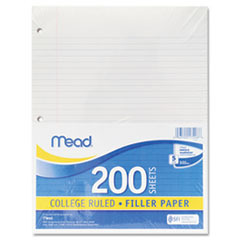 Mead 17208: Filler Paper, 3-Hole, 8.5 X 11, Narrow Rule, 200 / Pack