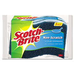 Scotch-Brite MP3: Non-Scratch Multi-Purpose Scrub Sponge, 4 2/5 x 2 3/5, Blue, 3 / pack