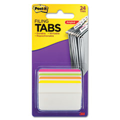 Post-it 686A1BB: 2 Angled Tabs, Lined, 1/5-Cut Tabs, Assorted Brights, 2 Wide, 24 / Pack