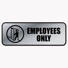 Cosco 098206: Brushed Metal Office Sign, Employees Only, 9 x 3, Silver