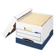 Bankers Box 00709: Stor / File End Tab Storage Boxes, Letter / Legal Files, White / Blue, 12 / Carton
