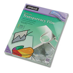 Apollo WO100CB: Write-On Transparency Film, Letter, Clear, 100 / box