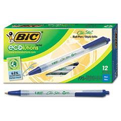 BIC CSEM11BE: Ecolutions Clic Stic Retractable Ballpoint Pen, 1Mm, Blue Ink, Clear Barrel, Dozen