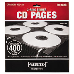 Vaultz VZ01415: Two-Sided Cd Refill Pages for Three-Ring Binder, 50 / pack