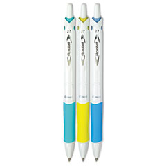 Pilot 31860: Acroball Purewhite Retractable Ballpoint Pen, 0.7Mm, Black Ink, Assorted Barrel, 3 / Pack
