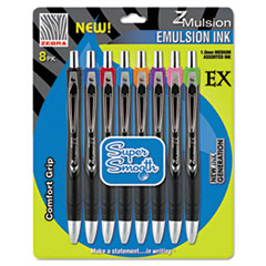 Zebra Pen 34208: Z-Mulsion 8 Pack Assorted EX RT Pens Medium Pen Point 1 mm Pen Point Size Refillable Assorted 8 / Pack