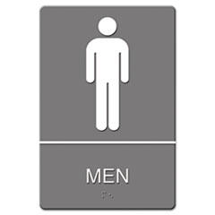 Quartet 4817: Ada Sign, Men Restroom Symbol with tactile Graphic, Molded Plastic, 6 x 9, Gray