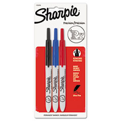 Sharpie 1735794: Retractable Permanent Marker, Extra-Fine Needle Tip, Assorted Colors, 3 / Set