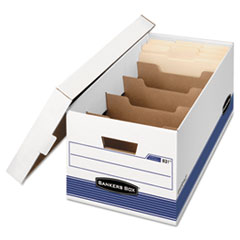 Bankers Box 0083101: STOR / FILE MEDIUM-DUTY STORAGE BOXES with DIVIDERS, LETTER FILES, 12.88 x 25.38 x 10.25, WHITE / BLUE, 12 / CARTON