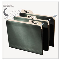 IdeaStream FT07033: HANGING FILE FOLDERS with INNOVATIVE TOP RAIL, LETTER SIZE, 1/4-CUT TAB, STANDARD GREEN, 20 / PACK