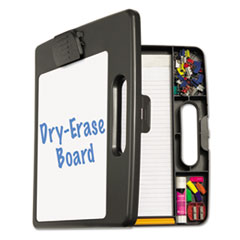 Officemate 83382: Portable Dry Erase Clipboard Case, 4 Compartments, 1/2 Capacity, Charcoal