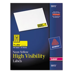 Avery 5972: High-Visibility Permanent Id Labels, Laser, 1 x 2 5/8, Neon Yellow, 750 / pack