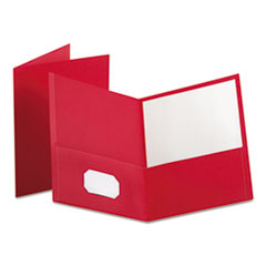 Oxford 57511: Twin-Pocket Folder, Embossed Leather Grain Paper, Red, 25 / box