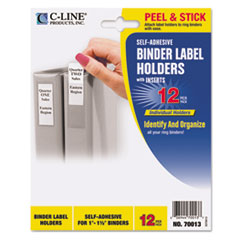 C-Line 70013: Self-Adhesive Ring Binder Label Holders, Top Load, 1 X 2 13/16, Clear, 12 / Pack
