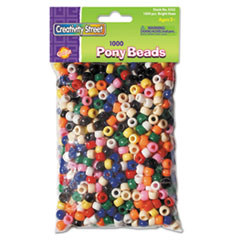 Creativity Street 3552: Pony Beads, Plastic, 6mm x 9mm, Assorted Colors, 1000 Beads / pack