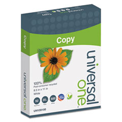 Universal 20100: 100 Recycled Copy Paper, 92 Bright, 20Lb, 8.5 X 11, White, 500 Sheets / Ream, 10 Reams / Carton