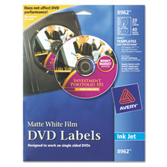 Avery 8962: Inkjet Dvd Labels, Matte White, 20 / pack