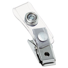 GBC 1122897: Metal Badge Clips with Plastic Straps, Silver, 100 / box