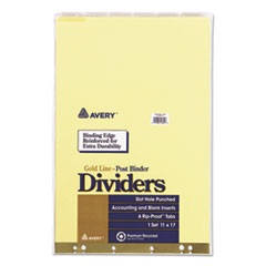 Avery 11644: INSERTABLE CLEAR TAB DIVIDERS for DATA BINDERS, 6-TAB, 11 x 17, BUFF, 1 SET