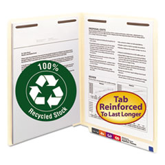 Smead 34160: 100 RECYCLED MANILA END TAB FOLDERS with TWO FASTENERS, STRAIGHT TAB, LETTER SIZE, 50 / BOX