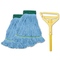 Boardwalk 400MBC: Looped-End Mop Kit, Medium, 60 Metal / polypropylene Handle, Blue / yellow