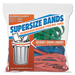 Alliance 08997: Supersz. Rubber Bands, 12 Red, 14 Green, 17 Blue, 1/4 w, 24 / pack