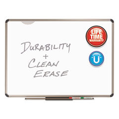 Quartet P568T: Quartet Prestige Plus DuraMax Porcelain Whiteboard 96 8 ft Width x 48 4 ft Height White Porcelain Surface Titanium Aluminum Frame Rectangle Horizontal Wall Mount..