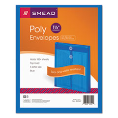 Smead 89542: Poly String Button Envelope, 9 3/4 x 11 5/8 x 1 1/4, Blue, 5 / pack