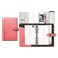 Day-Timer 48437: Pink Ribbon Snap Leather Starter Set 3 3/4 x 6 3/4 7-ring Magnetic Snap Leather Pink