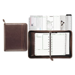 Day-Timer 48532: Sienna Simulated Leather Starter Set Organizers Monthly 5 1/2 x 8 1/2 7-ring Brown Leather Pouch, Tabbed, Notepad, Holder, Zippered Closure