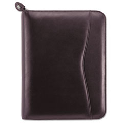 Day-Timer 82153: Verona Zip Leather Planner Starter Set Monthly 5 1/2 x 8 1/2 7-ring Burgundy Leather Pouch, Notepad, Holder, Tabbed, Zippered Closure