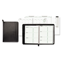Day-Timer 85457: Green Series Black Leather Organizer Starter Set Weekly, Monthly 6 Month 1 Week Double Page Layout 8 1/2 x 11 Sheet Size Wire Bound Black Bonded Leather Black Tabbed, Divider, A..